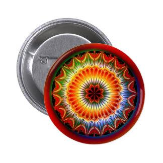 Fractal de la mandala de Lotus Pin Redondo De 2 Pulgadas