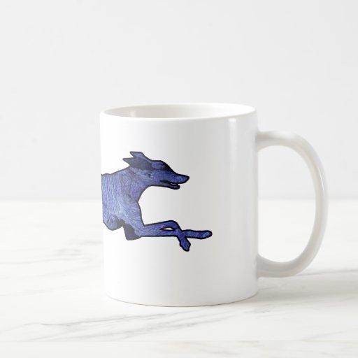 Fractal de la silueta del galgo tazas de café