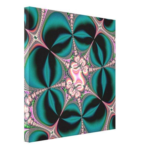 Fractal de las flores y de las mariposas de satén lienzo envuelto para galerias