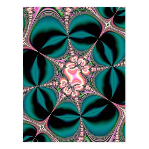 Fractal de las flores y de las mariposas de satén tarjetas postales