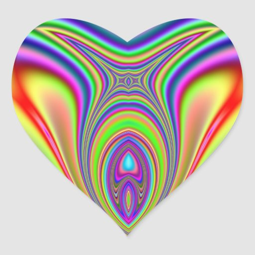 Fractal de los pescados de arco iris colcomanias corazon