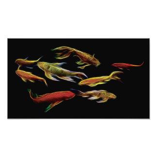 Fractal de los pescados de Koi Impresiones Fotograficas