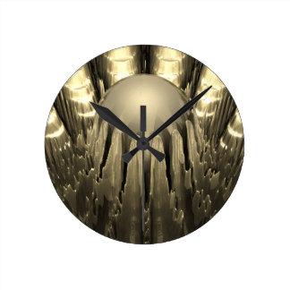 Fractal de oro reloj de pared
