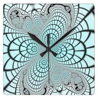Fractal de Spiderweb Reloj Cuadrado