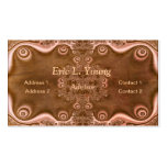 Fractal Decorations on a Brown Metallic Surface Business Card Template