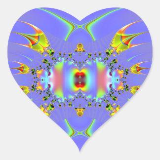 Fractal del acuario del Angelfish Pegatina En Forma De Corazón