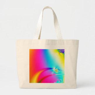 Fractal del arco iris bolsa tela grande