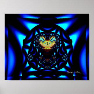Fractal del azul de la bola del lagarto posters