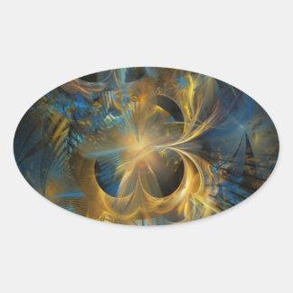 Fractal del azul y del oro pegatina ovalada