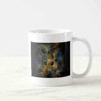 Fractal del azul y del oro taza