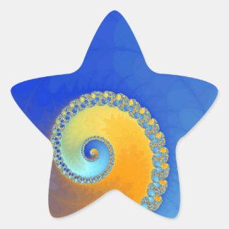 Fractal del caracol azul y amarillo pegatina en forma de estrella