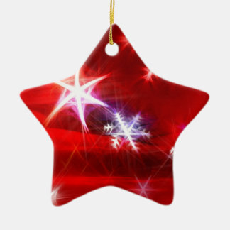 Fractal del copo de nieve en rojo adorno navideño de cerámica en forma de estrella