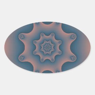 fractal del copo de nieve calcomanía de óval personalizadas