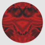 Fractal del corazón del satén etiquetas redondas