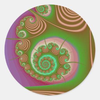Fractal del espiral del Seashell del satén Pegatinas Redondas