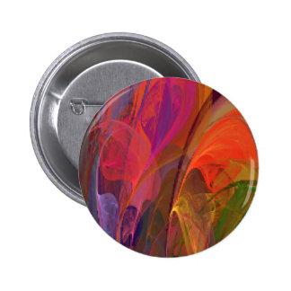 Fractal del flor del arco iris pin redondo 5 cm