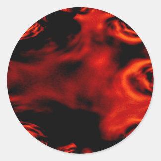 Fractal del fuego rojo pegatina redonda