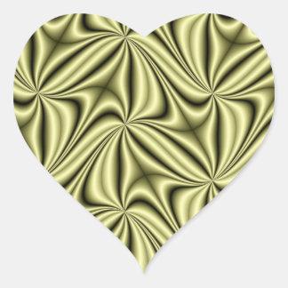 Fractal del holograma de la fiebre del oro pegatina en forma de corazón