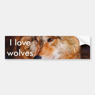 Fractal del lobo rojo pegatina de parachoque