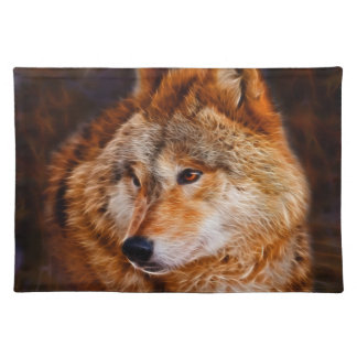 Fractal del lobo rojo manteles