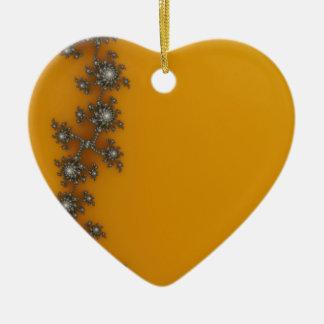 Fractal del navidad de la cerca adorno de cerámica en forma de corazón