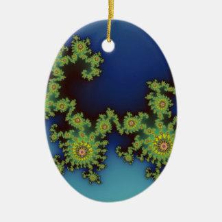 Fractal del navidad de la criatura del mar adorno ovalado de cerámica