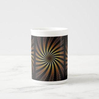 fractal del oro amarillo taza de porcelana
