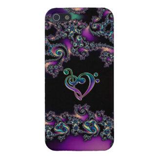 Fractal delicioso oscuro con el corazón del Clef d iPhone 5 Cárcasa