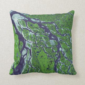 Fractal Delta of River Lena Throw Pillow