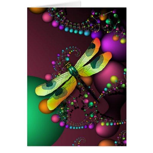 Fractal Dragonfly Birthday Card