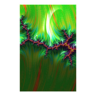fractal duocolor green customized stationery
