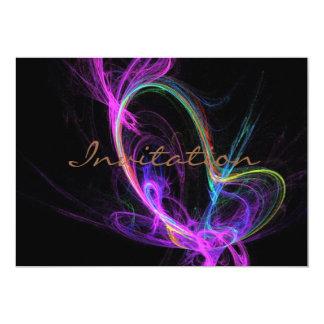"""Fractal eléctrico rosado invitación 5"""" x 7"""""""