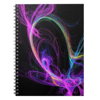 Fractal eléctrico rosado libros de apuntes con espiral