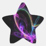 Fractal eléctrico rosado calcomania forma de estrella