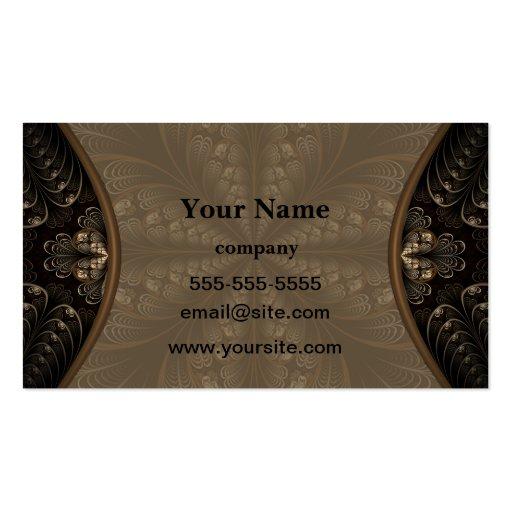 Fractal elegante de la hoja tarjetas de visita