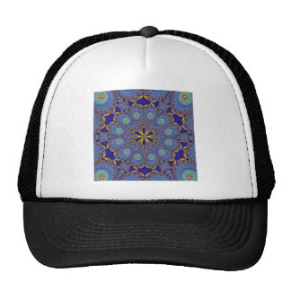 Fractal elegante del pavo real gorras