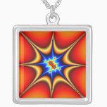 Fractal Emblem - Fractal Art Silver Plated Necklace