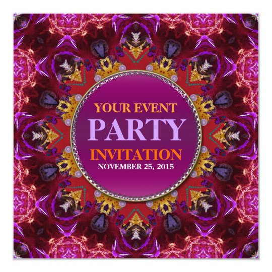 Fractal Embroidery mandala Party Invitation