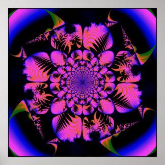 fractal en estilo del blacklight póster