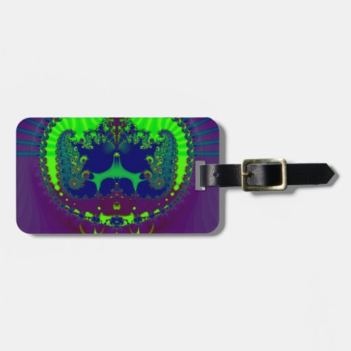 Fractal esmeralda de las joyas de la corona etiqueta para equipaje