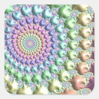 fractal especial del sweety rosado pegatinas cuadradases