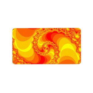 fractal espiral anaranjado y rojo etiquetas de dirección