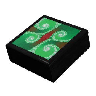Fractal espiral blanco verde rojo cajas de regalo