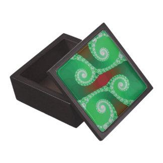 Fractal espiral blanco verde rojo caja de recuerdo de calidad