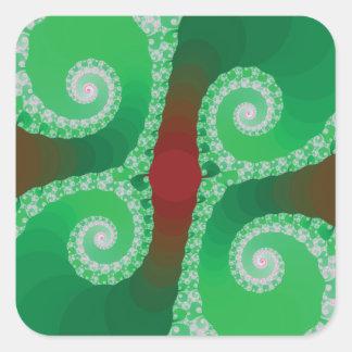 Fractal espiral blanco verde rojo pegatina cuadrada