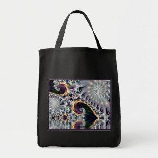 Fractal espiral de plata de la reflexión bolsa tela para la compra