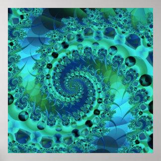 Fractal espiral de Shell de la turquesa Poster