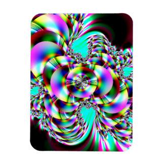 Fractal espiral del arco iris imanes de vinilo