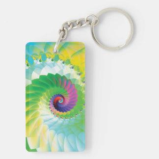 Fractal espiral del arco iris llavero