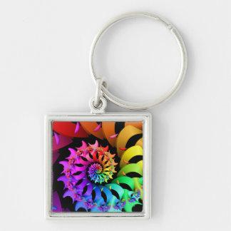Fractal espiral del arco iris llavero cuadrado plateado